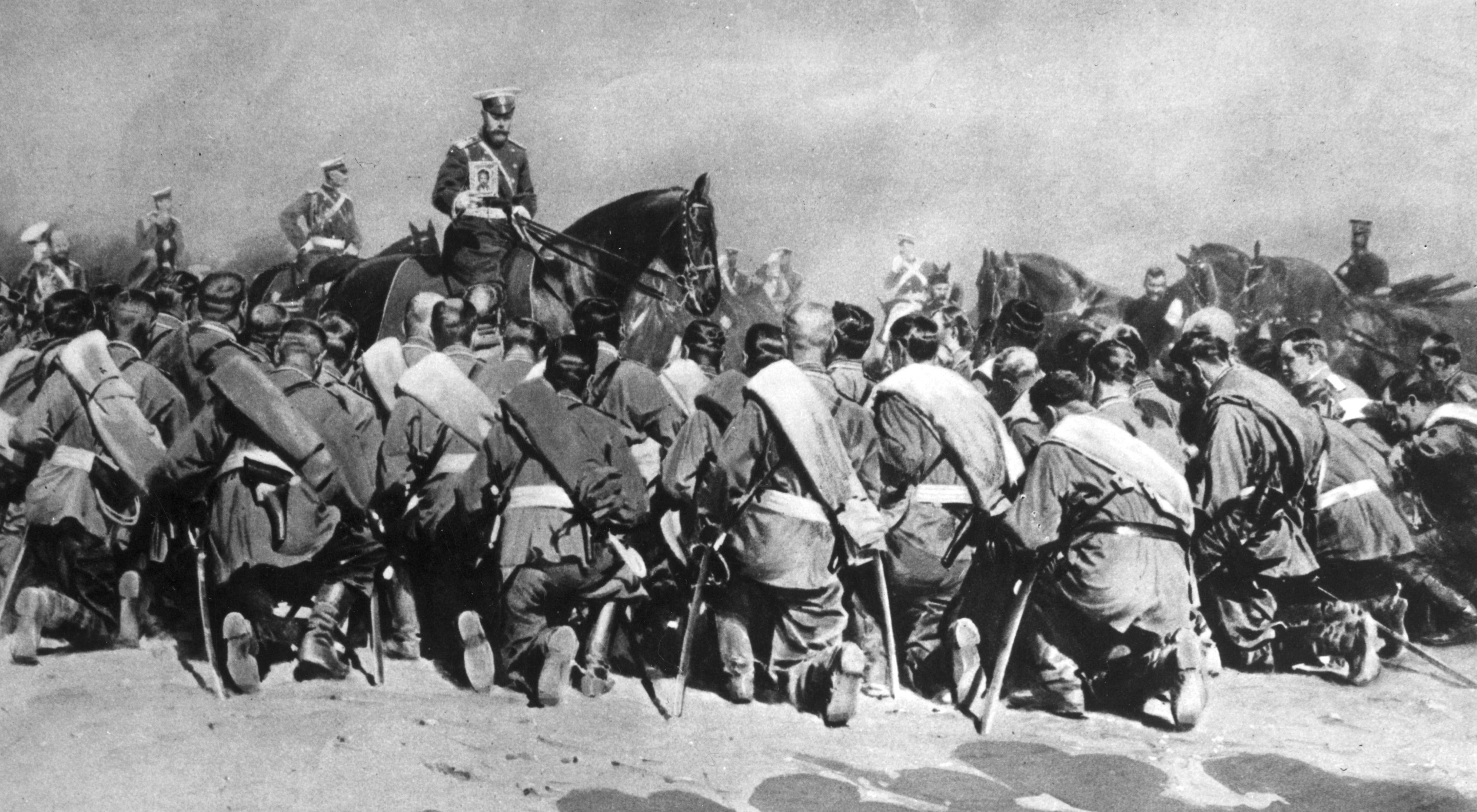 Tsar Nicholas Ii Holds An Icon Over Russian Troops Departing For