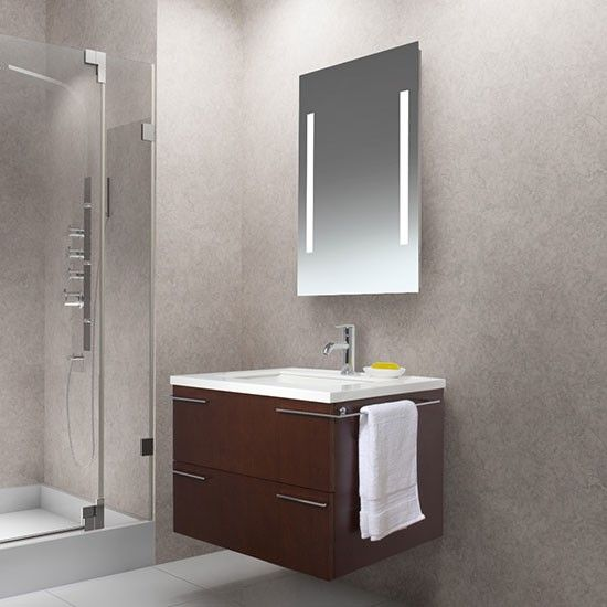 Vigo VG09003106K1 (single) 31.25-Inch Red Oak Modern Wall Mount Bathroom Vanity with Lighted Mirror Option