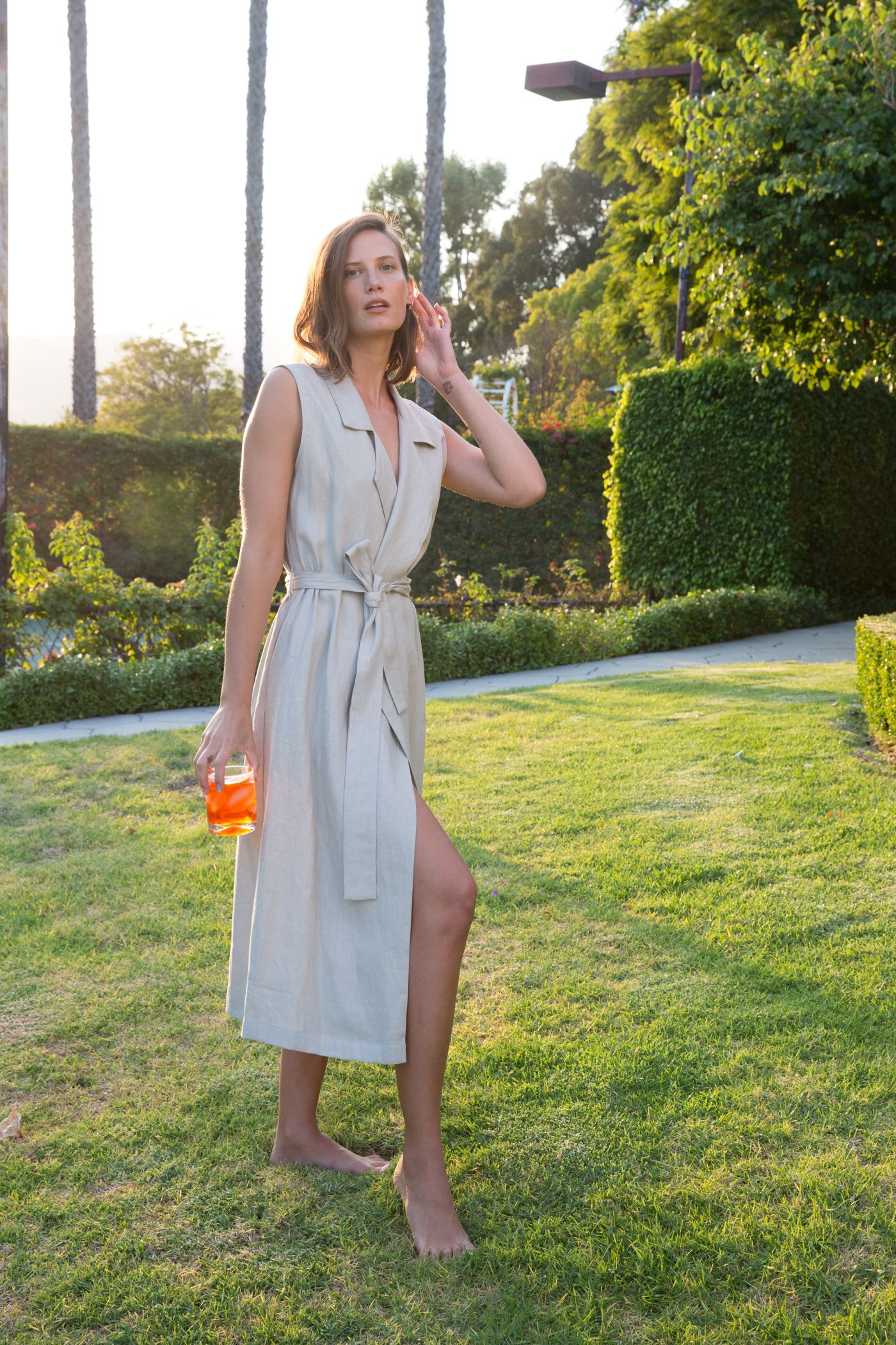 Jesse Kamm The Amalfi Wrap Dress In Tan Linen Strong Clothes Summer Dresses Shirt Dress [ 2100 x 1400 Pixel ]