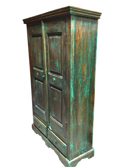Antique Storage Cabinet Armoire Distressed Green Wooden Furniture - Antique Storage Cabinet Armoire Distressed Green Wooden Furniture
