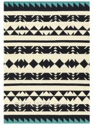 Tapis Ethnique triangles noir et bleu - Collection Craft - Arte Espina