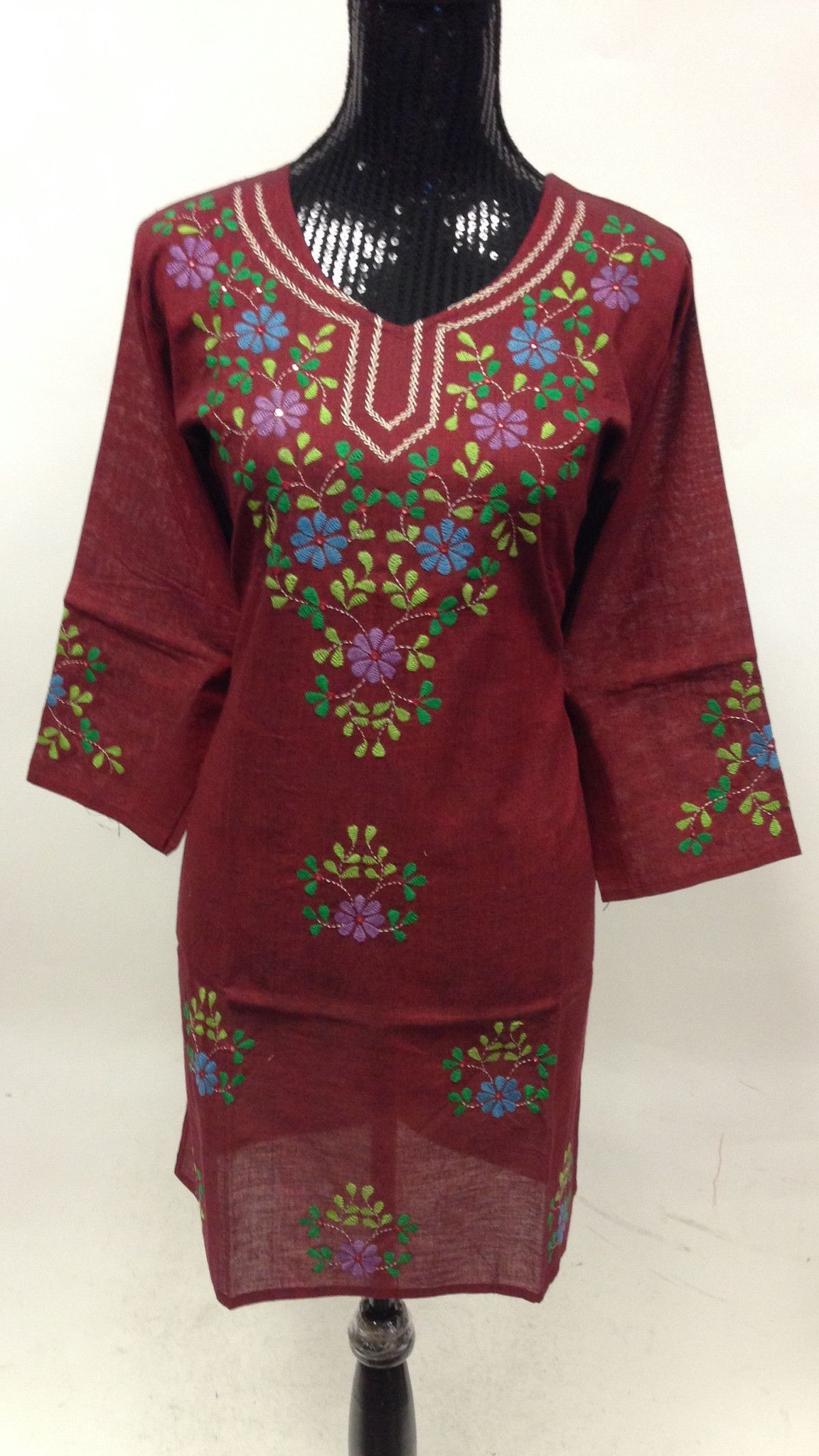 Kuchi hand work long kurti maroon kurti women tunic and tunics