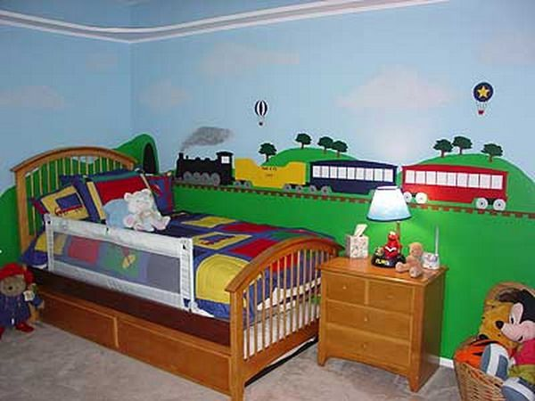 Trains Wall Murals Kids Bedroom, More Green On Bottom, Blue On Top