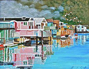Sausalito Neighborhood by Richard Rice Oil ~ 14 x 18
