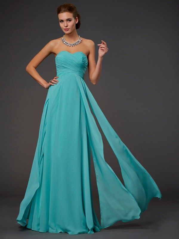 A-Line Princess Sleeveless Pleats Sweetheart Floor-Length Chiffon Dresses  DressyWell 14a27d530