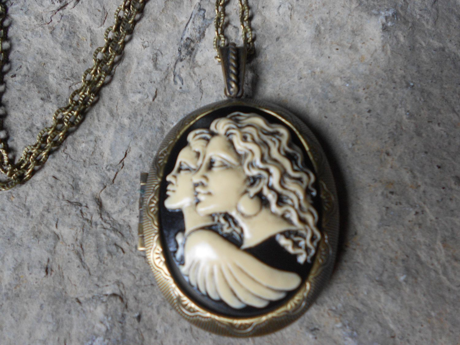 pin pendant bronze cameo look long antiqued angel locket hand stunning painted guardian lockets great quality