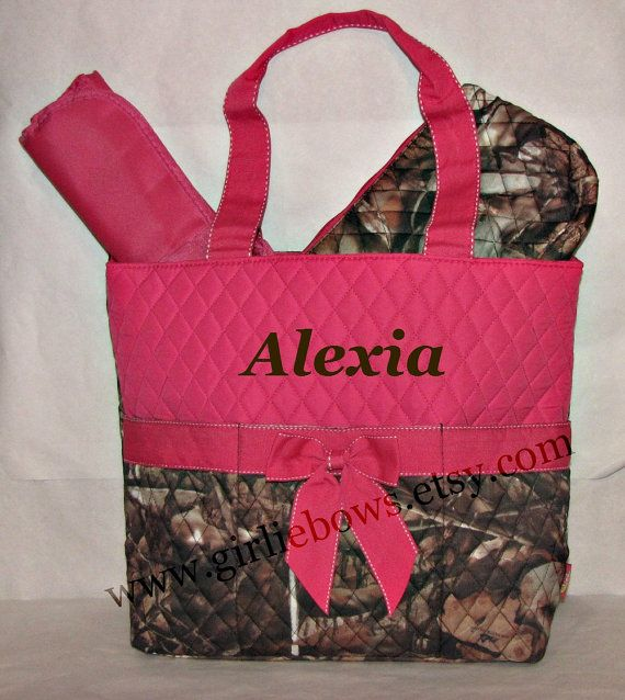 Personalized Quilted Diaper Bag Set - Hot Pink and Brown Camouflage Camo - MONOGRAMMED FREE - By Girliebows