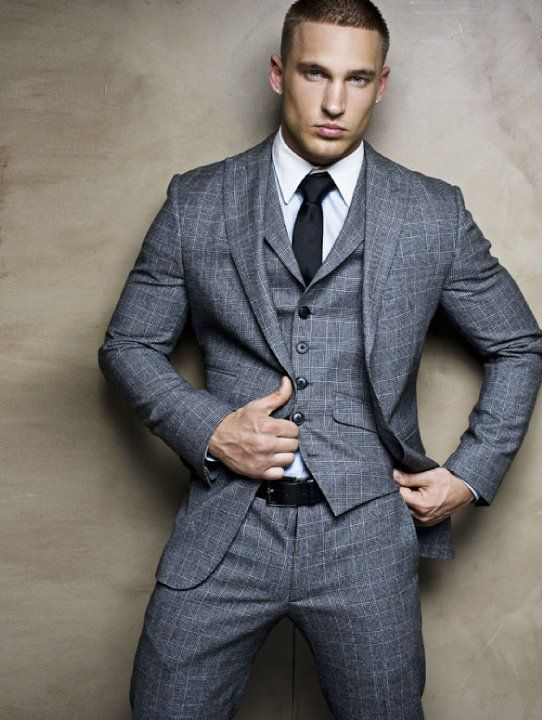 fitted three piece gray plaid suit. white oxford. charcoal gray ...
