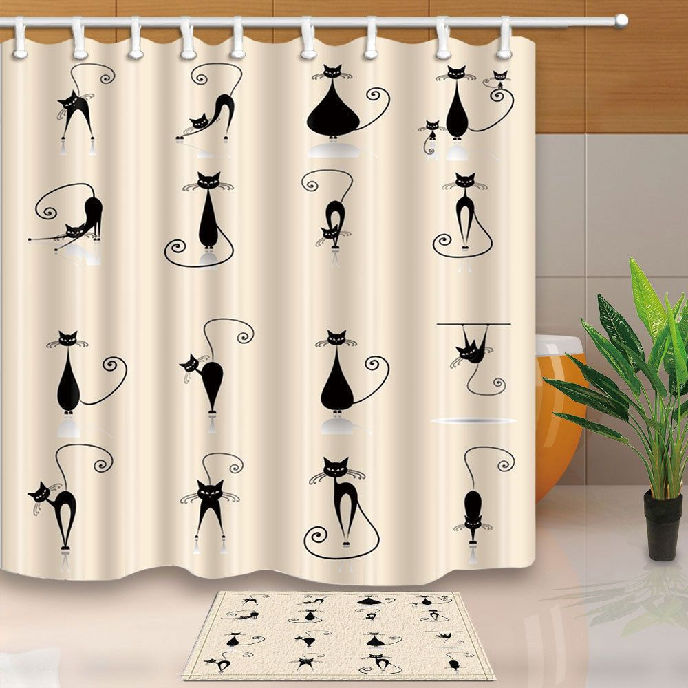 Lovely Animal Cat Yoga Waterproof Fabric Shower Curtain Bathroom
