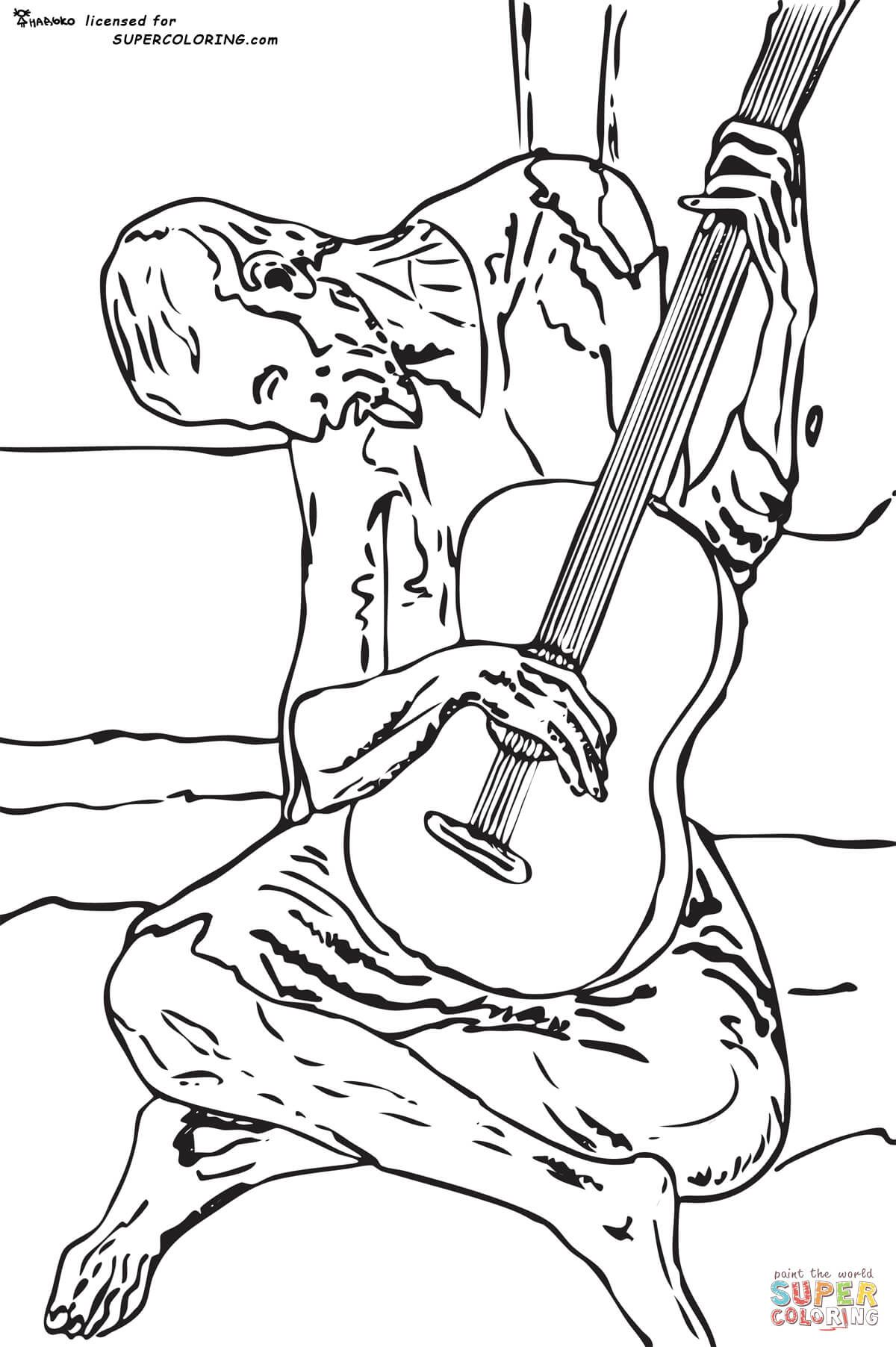 Blue Guitar By Pablo Picasso Coloring Page Free Printable Coloring Pages Pablo Picasso Dingen Om Te Tekenen Picasso