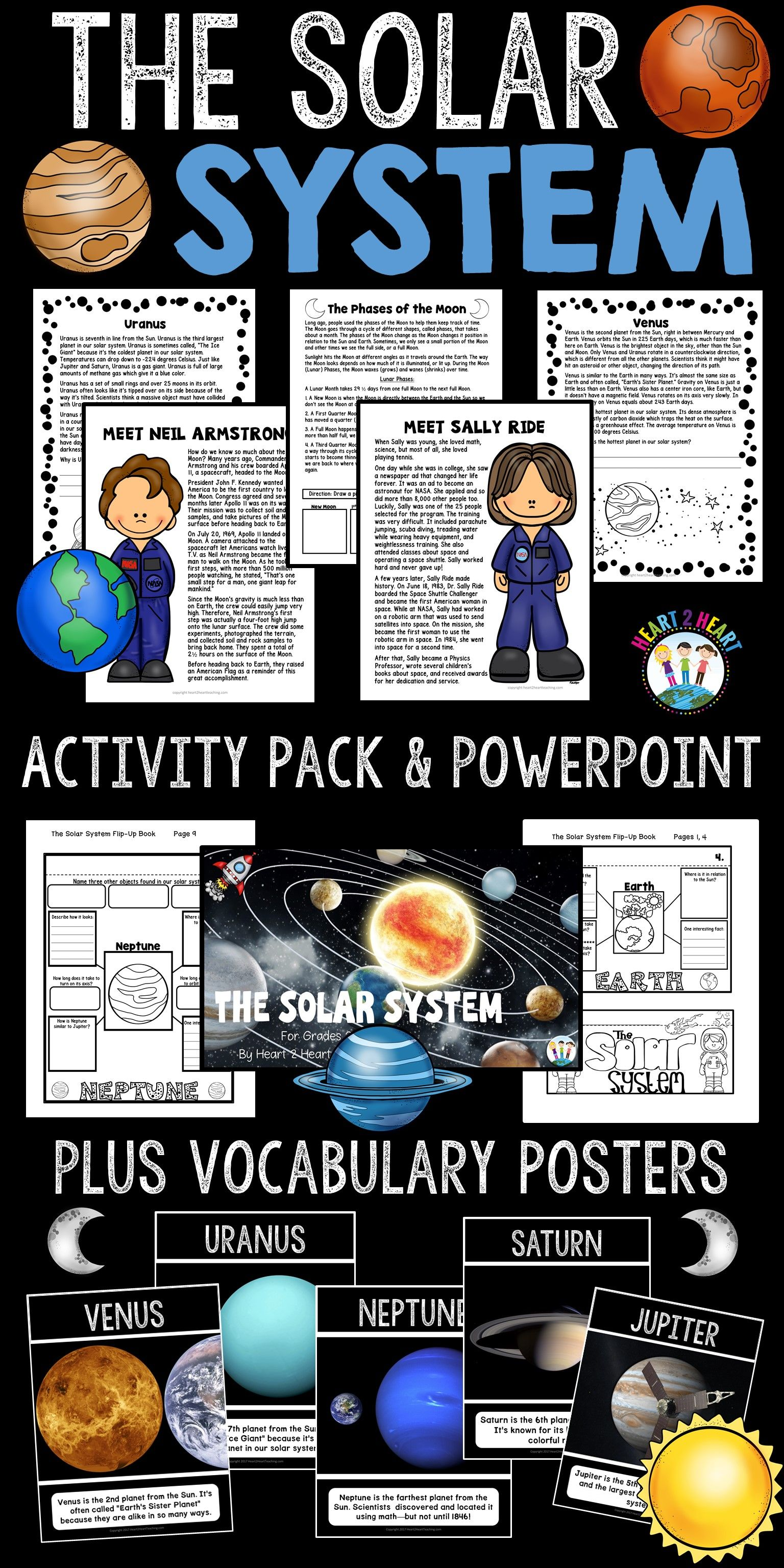 solar system-planets, lunar cycle, neil armstrong, sally ride, Presentation templates