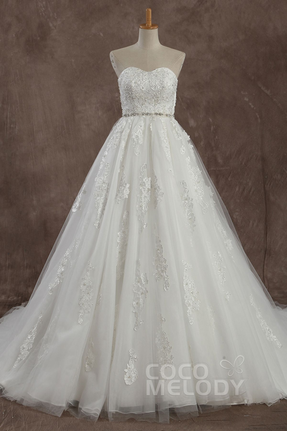 Wedding dresses with train  Glamour ALine Sweetheart Natural Train Tulle Ivory Sleeveless