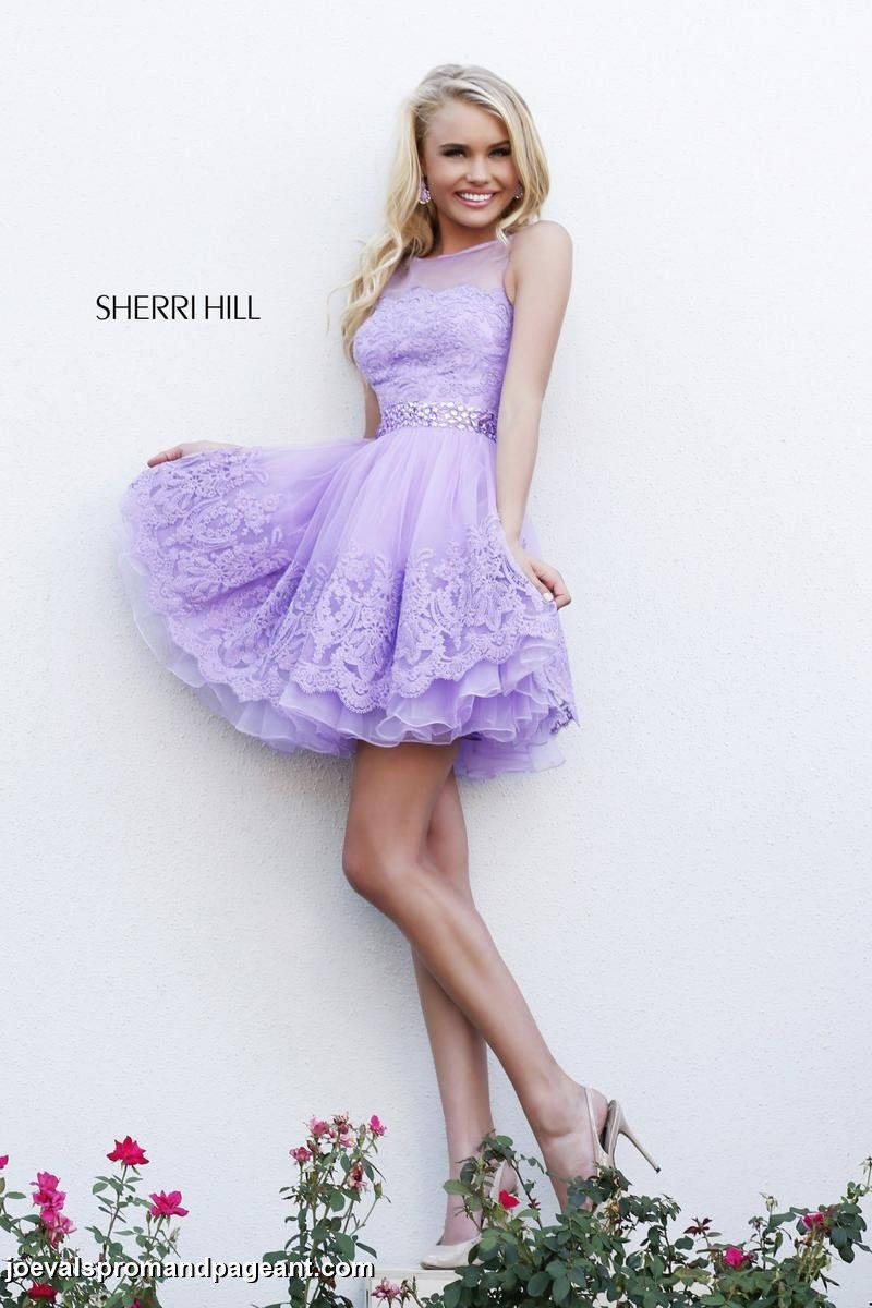 Lilac embroidered high neckline Sherri Hill with tulle skirt and ...