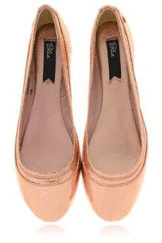 4e1e8848854 BLINK CRACKLE Effect Rosegold Ballerinas - SHOES