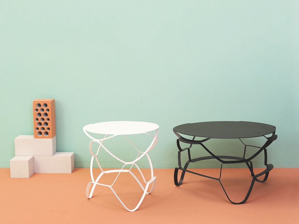 Perfect Lounge Coffee/side Table By Loll: Laser Cut Sheet Metal Stretched To Create  A