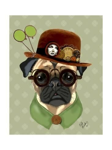 Stretched Canvas Print  Pug with Steampunk Bowler Hat by Fab Funky ... 92bcfd73254a