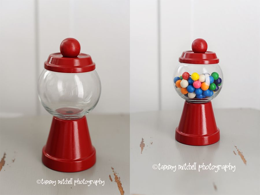 Mini Gumball Machine Made With Terra Cotta Pot And Base Small