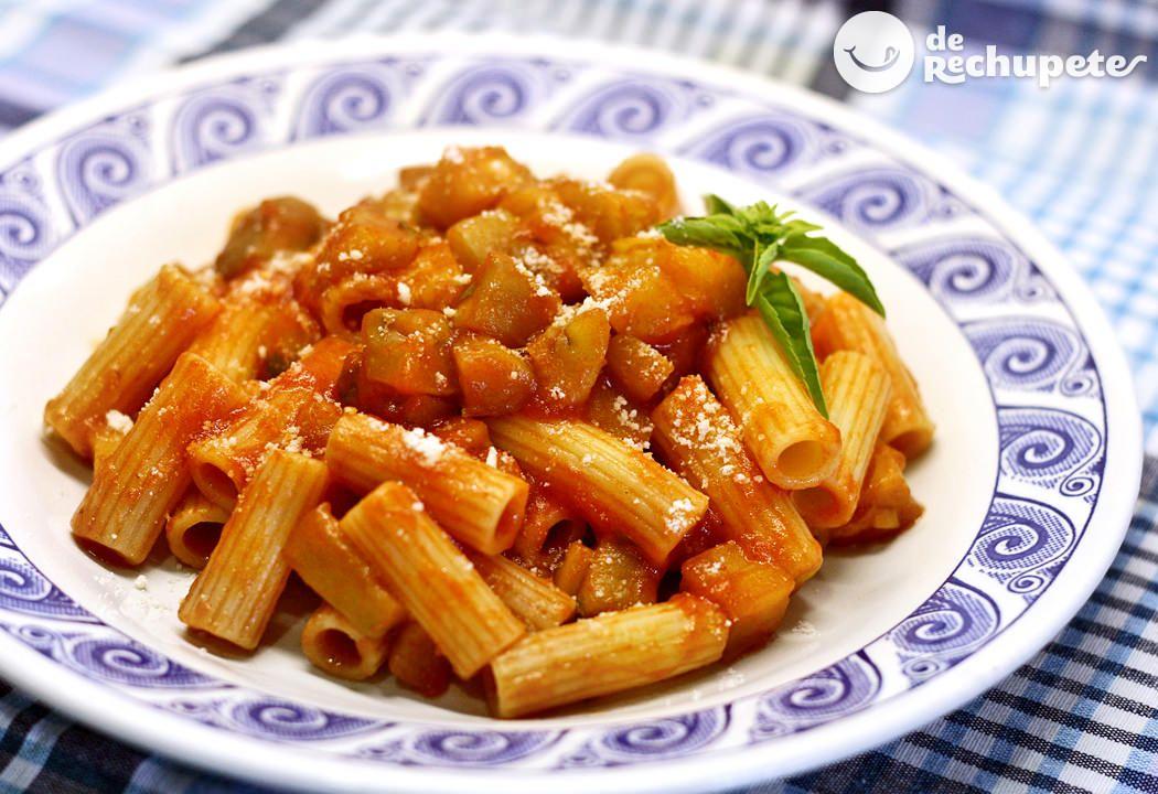 Macarrones con berenjenas pasta con le melanzane receta recetas de pasta y cocina italiana - Platos de pasta sencillos ...