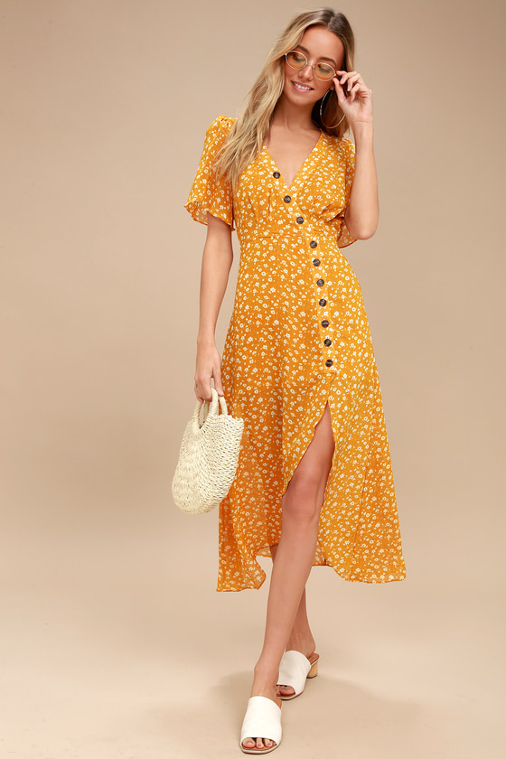 8ecf8a9c3e0 The After-Bloom Delight Golden Yellow Floral Print Midi Dress was made for  mid-day strolls! Short sleeve