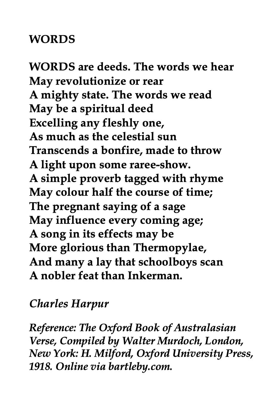 Charles Harpur Australian poet in 2020 Words, Poetic