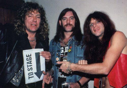 Robert Plant of Led Zeppelin with Motorhead band members