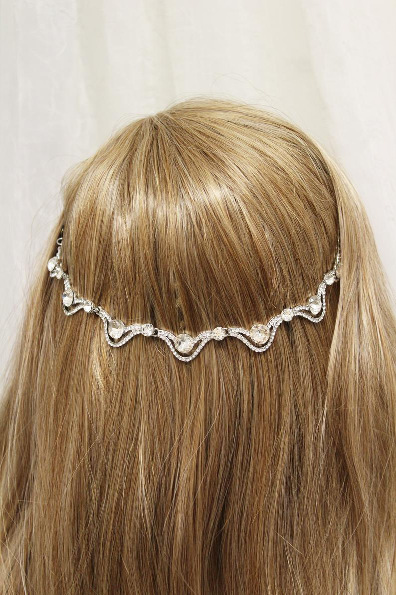 Wedding  Hair chain , Bridal hair chain , Art Deco hair chain, Bridal Hair piece, Bridal Headpiece, 1920s accessory, Wedding hair accessory #hairchains