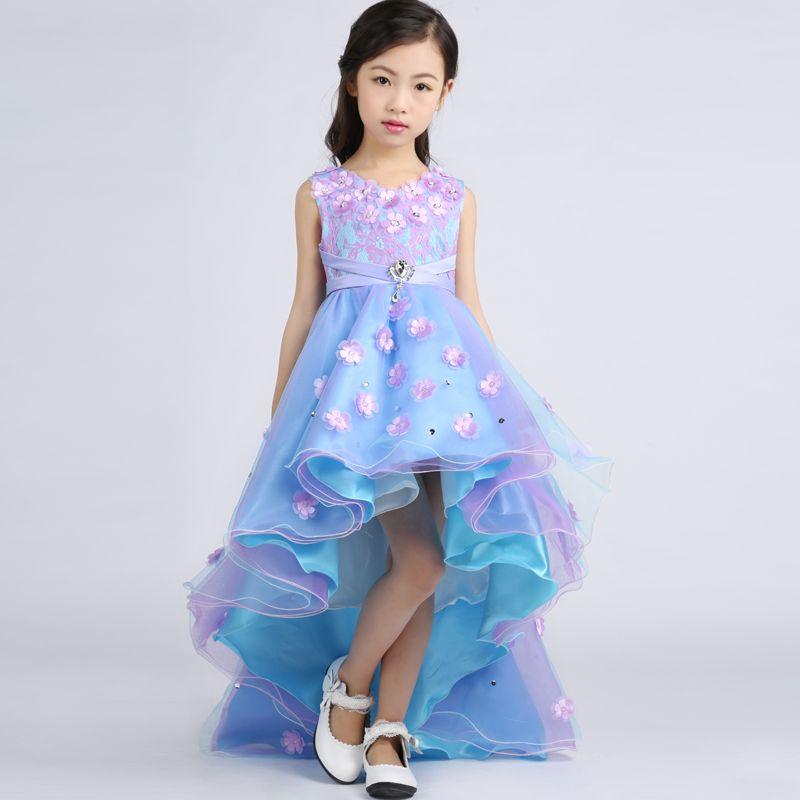 Click To 2016 Children Dress Costume S Blue Tail Wedding Flower