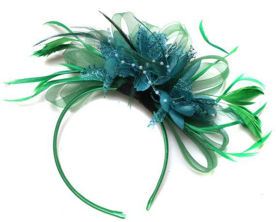 531fdf07342ca Emerald Green   Teal Dark Turquoise Fascinator on by Caprilite