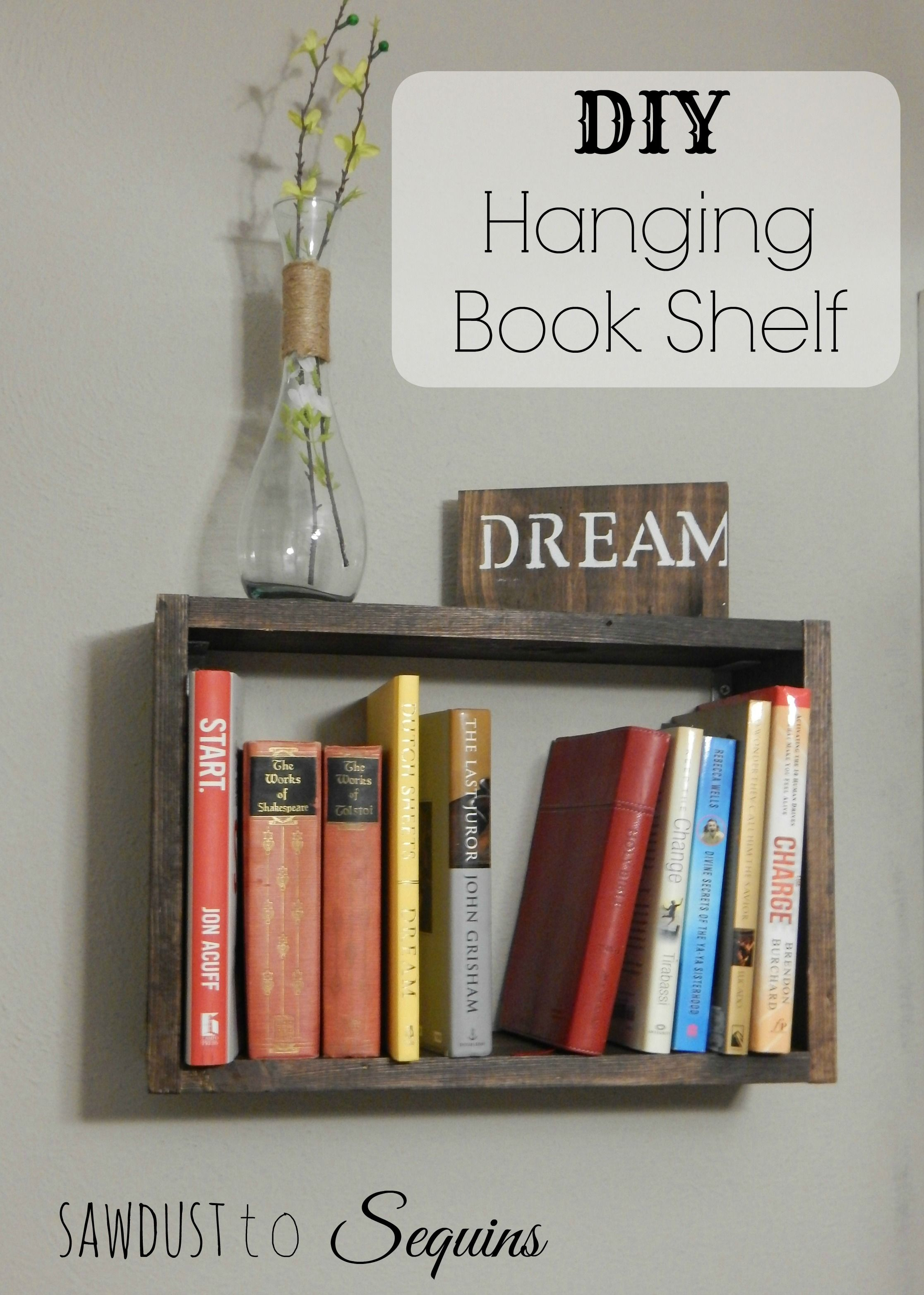 Diy Hanging Book Shelf With Just One Size Board A Few Supplies And