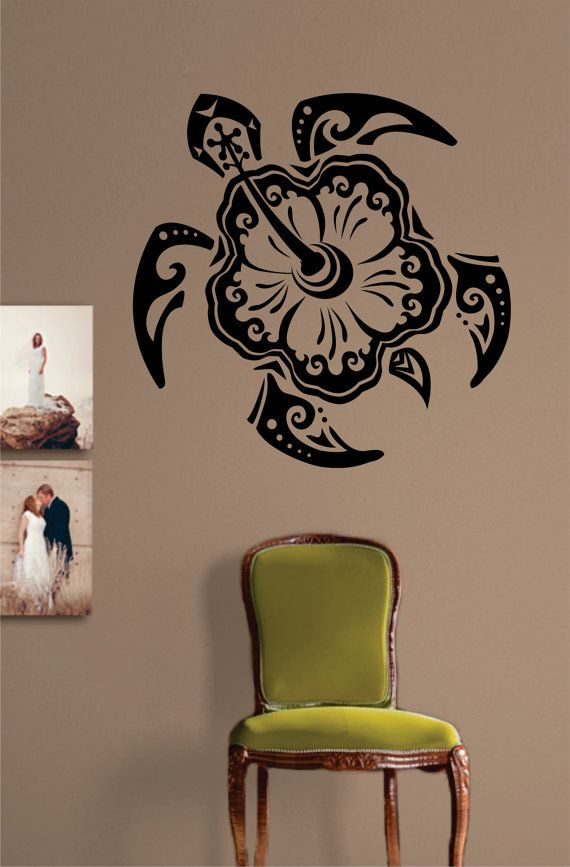Wall Vinyl Art hibiscus flower turtle decal sticker wall vinyl art tribal design