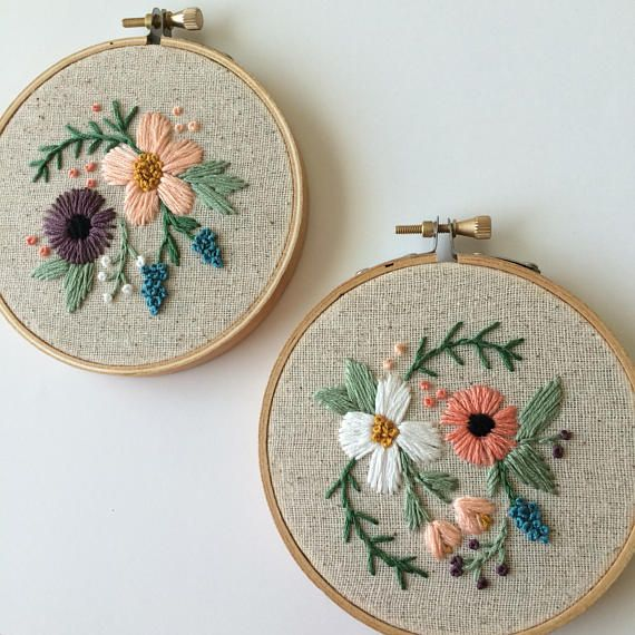 floral embroidery hoop tiny #embroiderypatternsbeginner