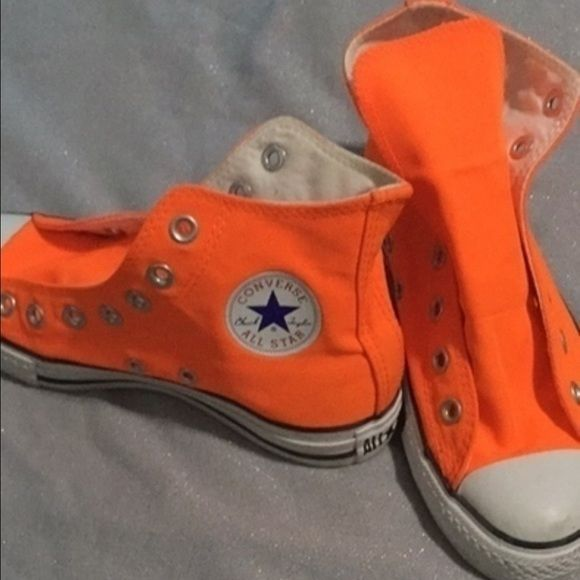 Neon Orange Converse High Top Chucks Some very colorful neon orange hightop  Converse shoes men size women size 6 Converse Shoes Sneakers 3addfde6c3cb
