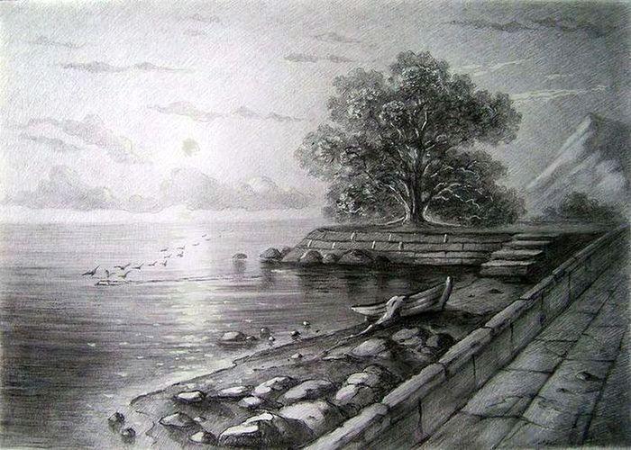 Calm River Landscape Pencil Drawings Pencil Drawings Landscape Drawings
