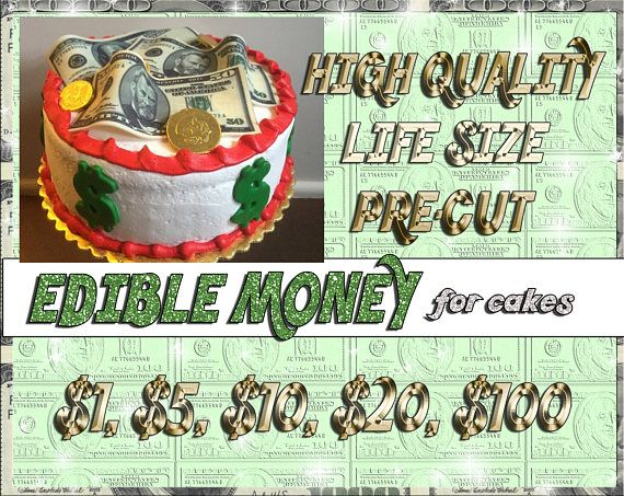 Edible Money 100 50 20 10 1 Dollar Bill Cake Toppers Fake Picture Sugar Wafer Frosting Paper Image Dollar Bill Cake Types Of Cakes Cake Toppers