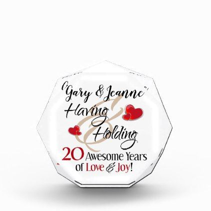 20th Anniversary Romantic Having Holding Love Acrylic Award | Zazzle.com #20thanniversarywedding