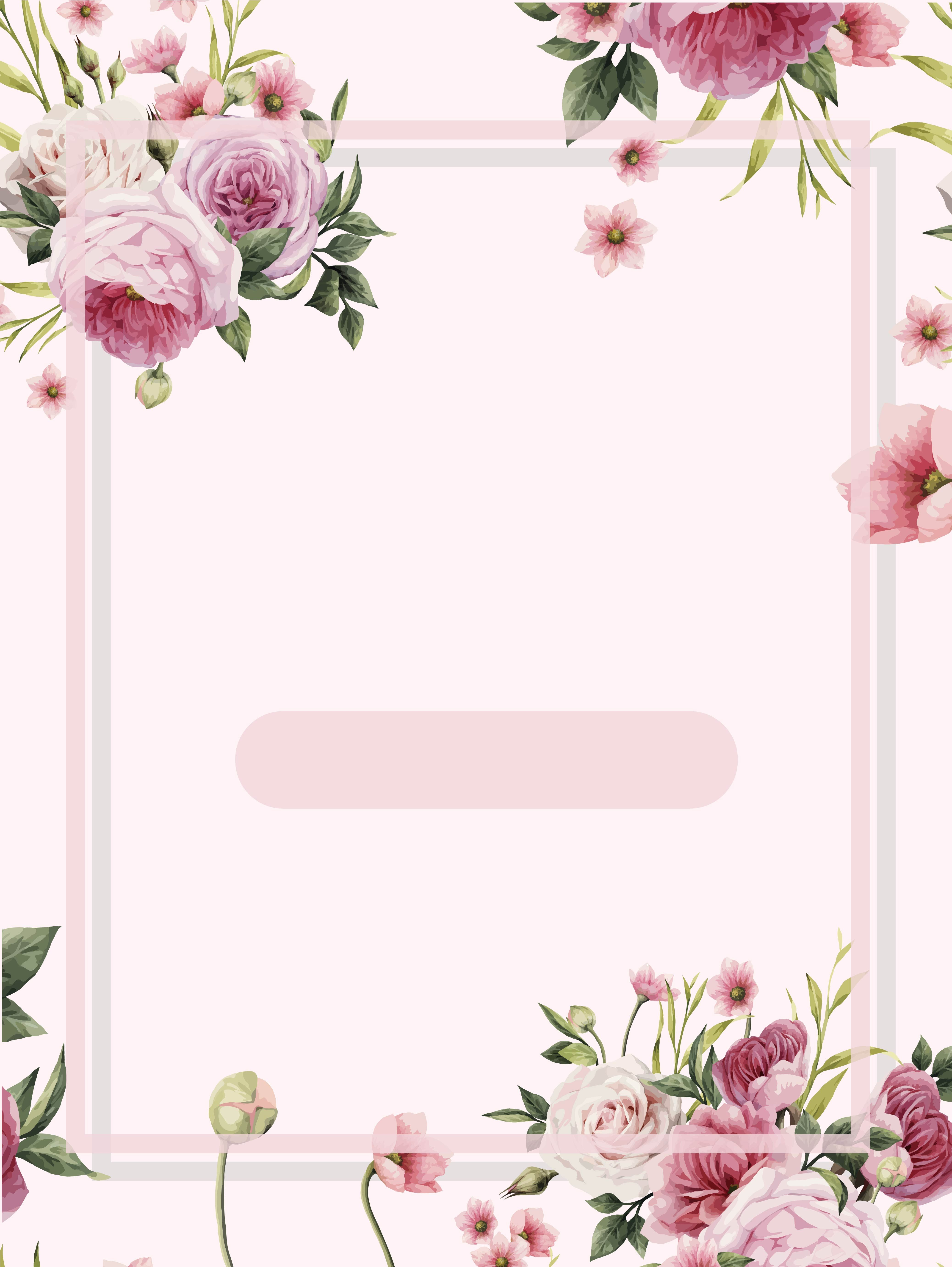 Pink Flowers Frame Watercolor Background Watercolor