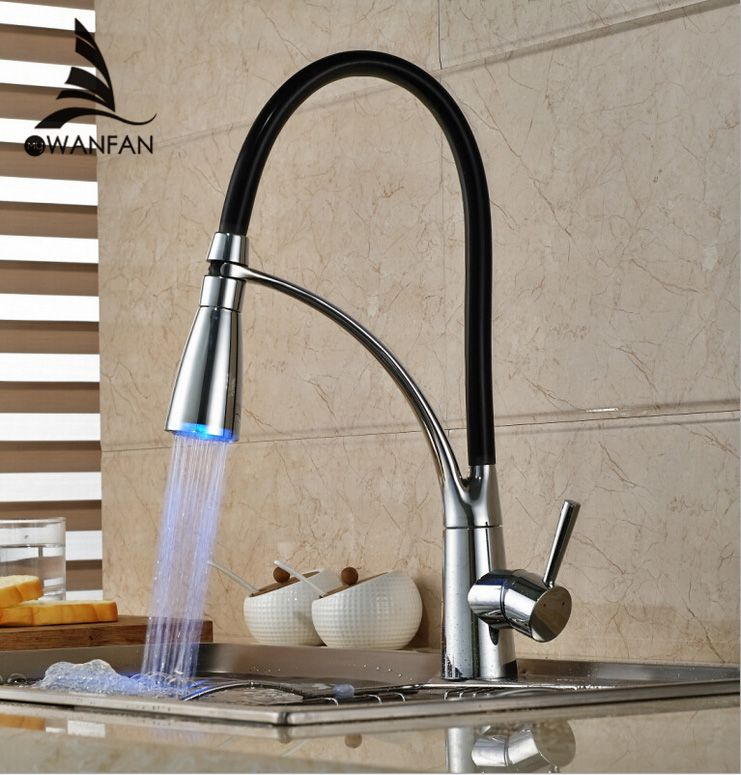 Kitchen Sink Faucet With Rubber Design Deck Mount Pull Out Dual