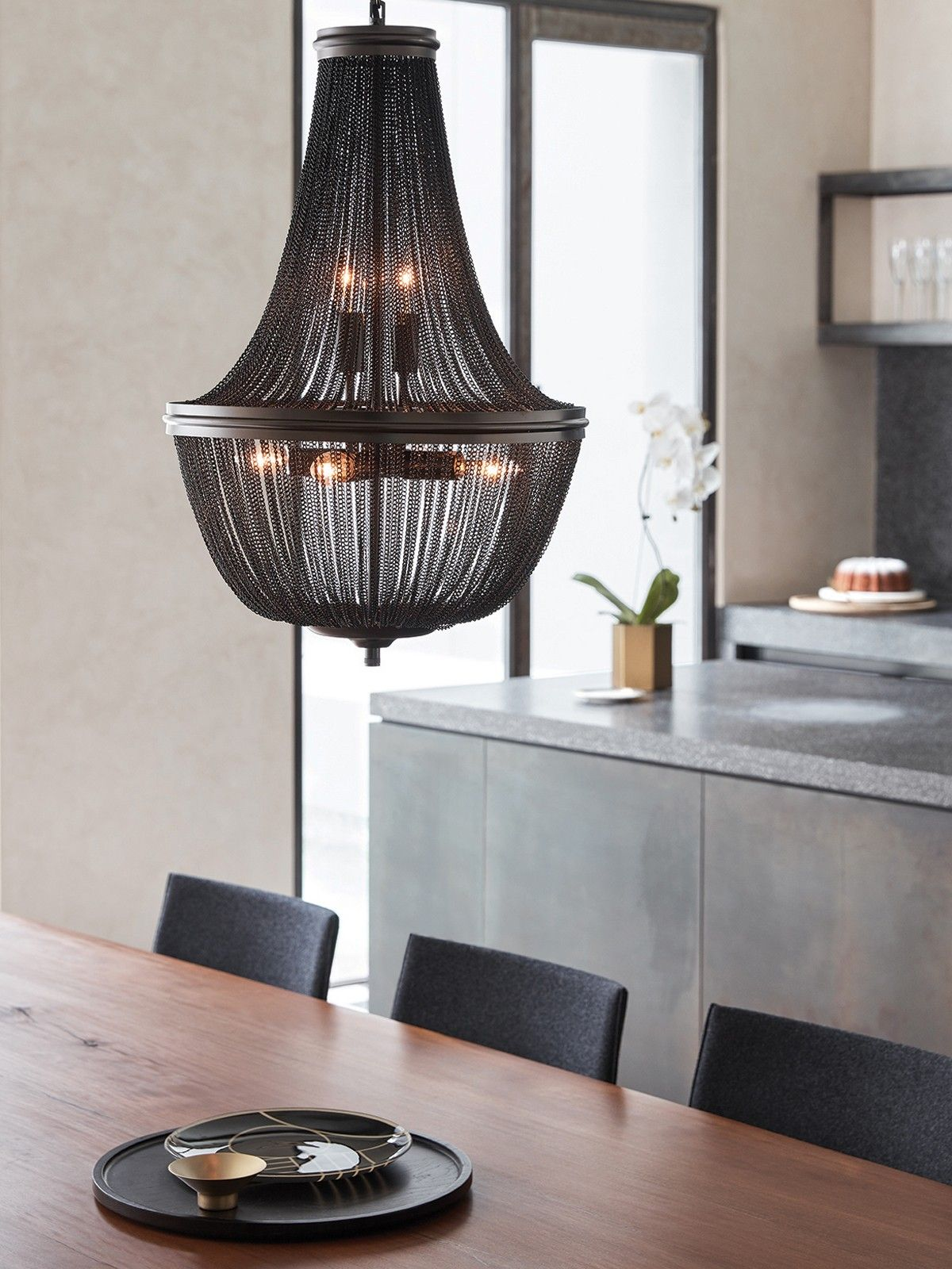 Moselle 6 light chandelier in black kitchens pinterest the beacon lighting moselle 6 light chandelier featuring black metal chain link and black metalware aloadofball Image collections