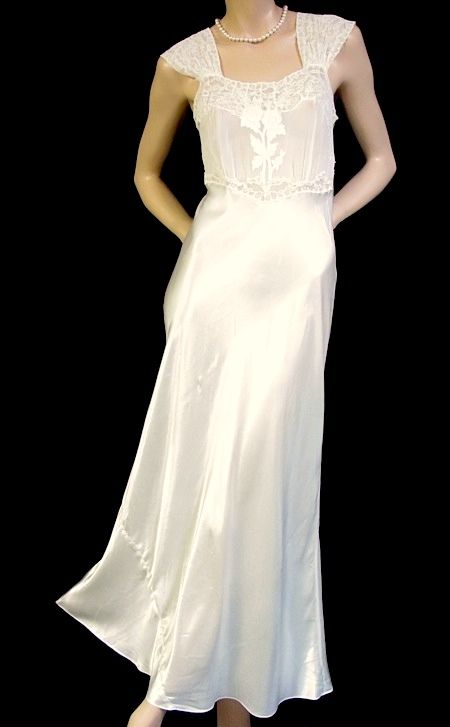 White Satin Night gown | Night Gowns I love !!!!! | Pinterest ...