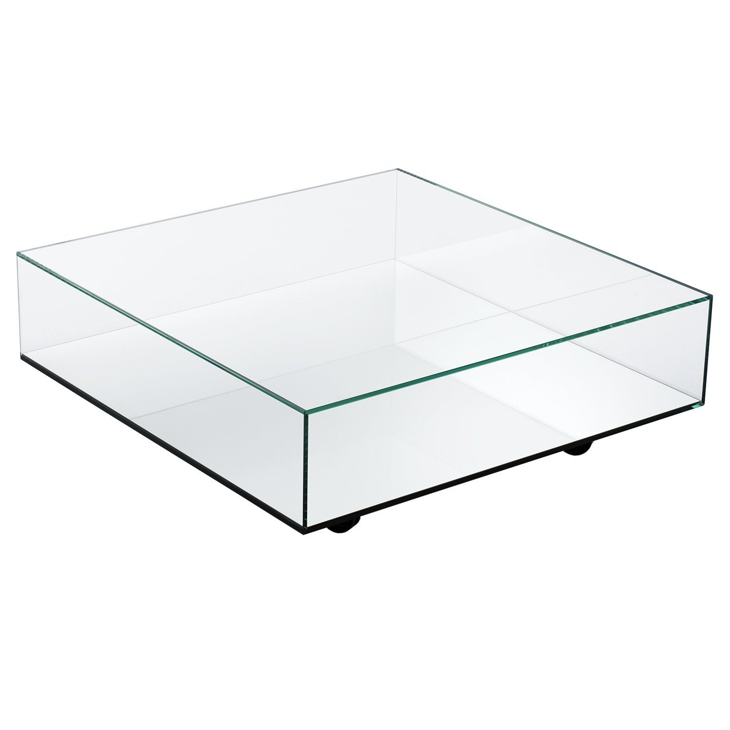 Description split Reflect adds an extra dimension to the idea of a mirrored coffee table. Objects can be placed on either the ultra-clear glass top panel or the mirrored bottom to create intriguing double reflections and op art effects. Two sides of the box are open, allowing access to the mirrored surface while the wide top surface is strong enough to support heavy pieces. The table is situated on high-quality casters so it can be moved easily but with enough friction to still stay in place. An