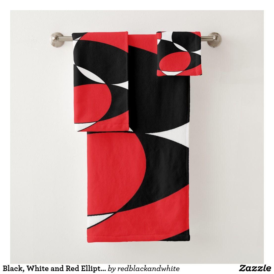 Black, White and Red Ellipticals Bath Towel Set by Khoncepts