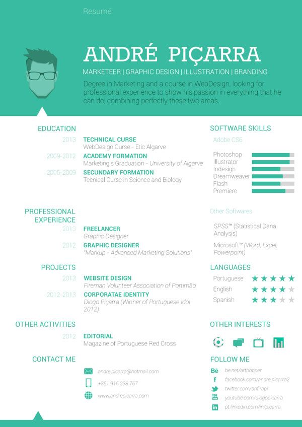40 Creative CV Resume Designs Inspiration 2014 Pinterest Graphic - web design resume