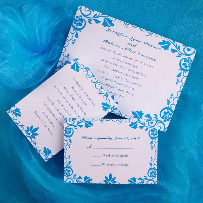 Blue And White Wedding Invitation Ideas