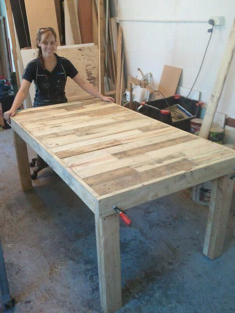 Built a table out of old shipping pallets first post for Mesas de palets para jardin