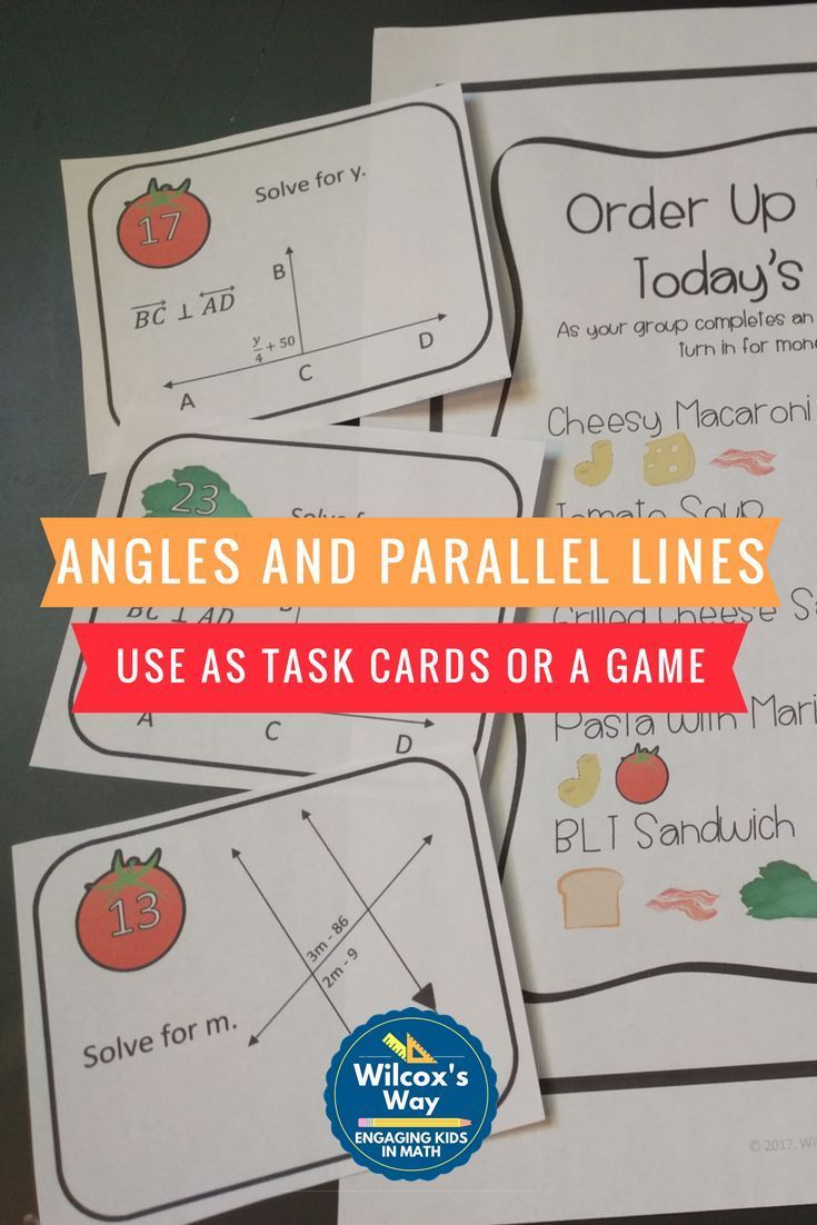 Angles And Parallel Lines And Transversals Task Card Game Task Card Games Task Cards Maths Activities Middle School [ 1102 x 735 Pixel ]