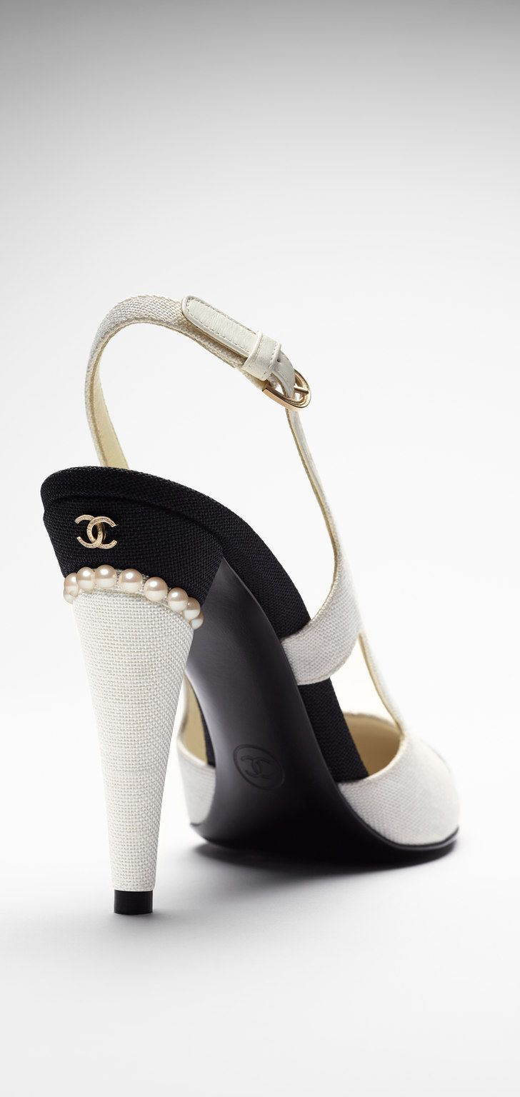 Chanel ~ White Leather Slingback Pumps