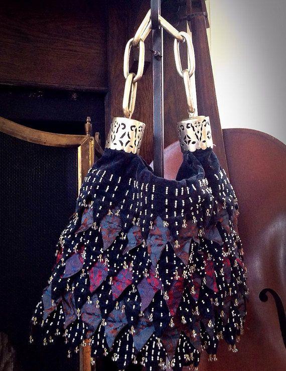 Ipa Nima Soho Bohemian Beaded Silk Christina Yu Purse Handbag Pocketbook With Chain Handle Strap