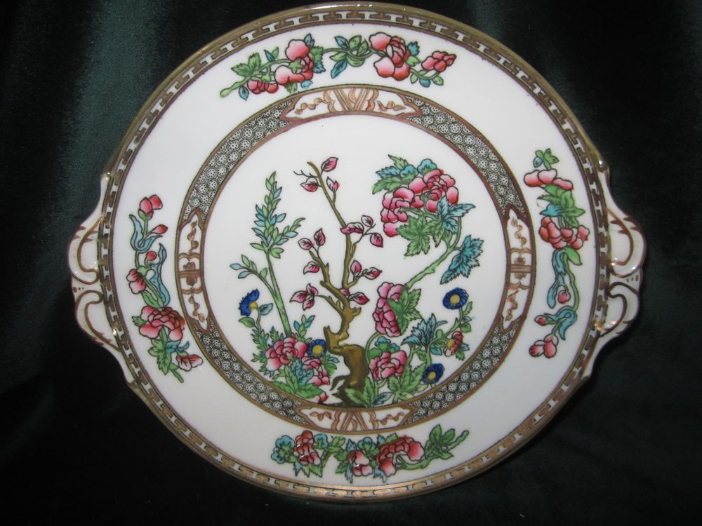 COALPORT INDIAN TREE MULTICOLOR A.D.1750 GREEN STAMP CAKE PLATE 17 ebay