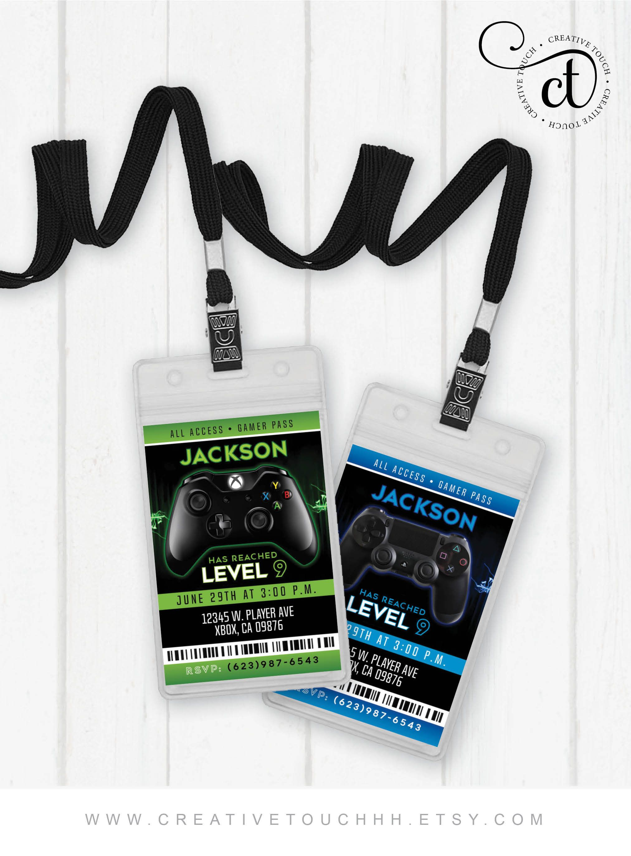 Gamer Lanyard Invitation, Game on Birthday Invitation, Game