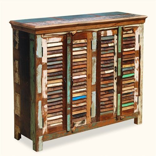 Elegant Reclaimed Wood Furniture Multi Color Handcrafted Shutter Door Sideboard  Buffet Cabinet Sierra Living Concepts,